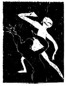 Smertedans, tresnitt av Arne Paus 14