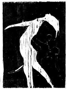 Smertedans, tresnitt av Arne Paus