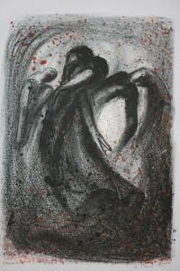 Dans 4, håndkolorert av Arne Paus, litografi