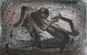 Dans av Arne Paus, håndkolorert litografi